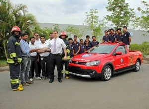 Apprentices from Volkswagen Academy India build a fire-fighting car for the Pune Plant