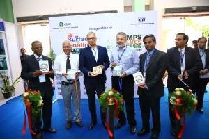 Dignitaries releasing the Show Directory  at the Exhibition & Conference on Surface & Coating and Pumps, Valves & Compressors 2014 held in Chennai on 4 July 2014