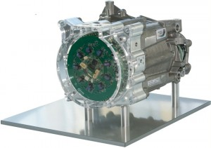 The prototype of a MotorBrain electric motor, which is Small, light, and efficient.