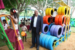 Apollo Tyres uses end-of-life radials to create playgrounds in Chennai schools