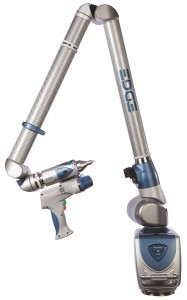 An articulated arm with a laser line scanner attachment
