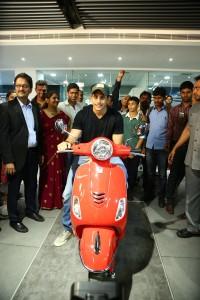 Tollywood heartthrob, Naga Chaitanya on  Red Vespa 150 SXL at the launch of Motoplex - Hyderabad