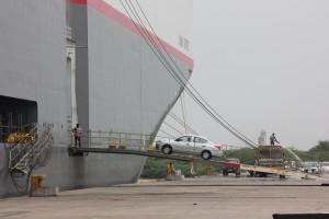 Nissan Sunny being exported from Kamarajar Port near Chennai