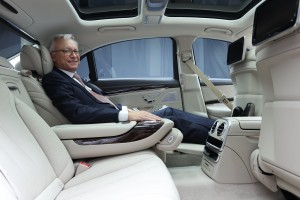 Mr. Roland Folger, MD and CEO, Mercedes-Benz India sitting inside the lu...