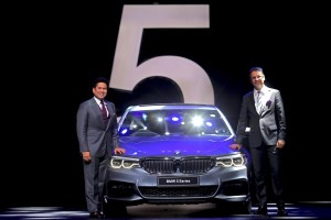 Sachin Tendulkar and Vikram Pawah, President, BMW Group India with the all-new BMW 5 Series