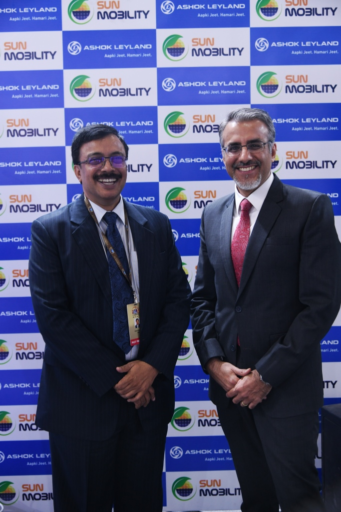 Mr. Vinod K. Dasari, Managing Director, Ashok Leyland and Mr. Chetan Maini, Co-Founder and Vice Chairman, SUN Mobility at Auto Expo 2018
