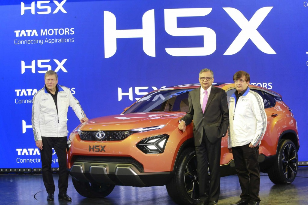 Mr. Guenter Butschek, CEO & MD, Tata Motors, Mr. N. Chandrasekaran, Chairman Tata Sons and Tata Motors and Mr. Mayank Pareek, President, Passenger Vehicle Business Unit, Tata Motors at the global debut of the H5X concept at the Auto Expo 2018